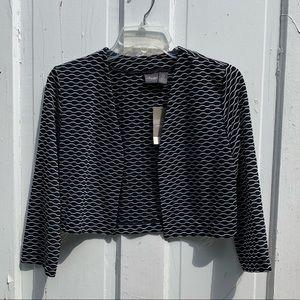 Chico's Bolero Jacket Oval/Geometric Black/White